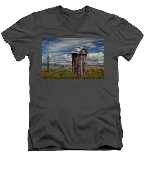 Wood Outhouse Out West Men's V-Neck T-Shirt by Randall Nyhof