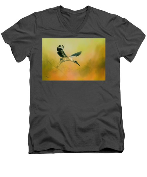 Men's V-Neck T-Shirt featuring the photograph Wood Stork Encounter by Marvin Spates
