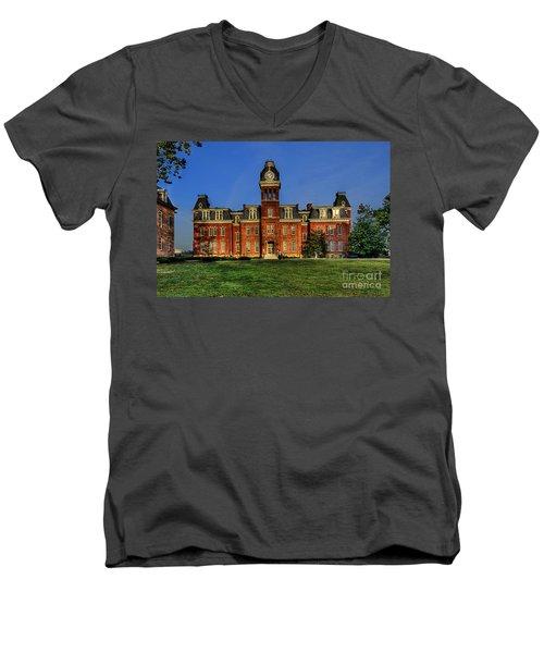 Woodburn Hall In Morning Men's V-Neck T-Shirt by Dan Friend