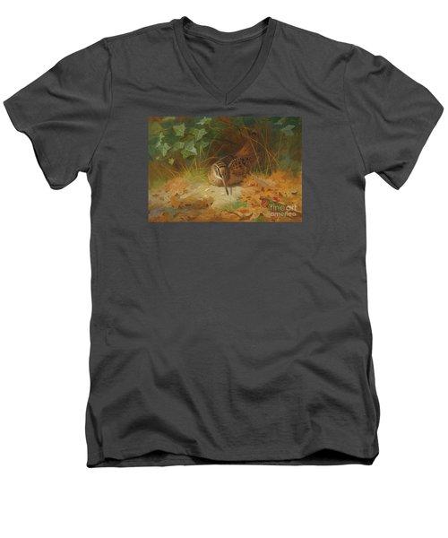 Woodcock Men's V-Neck T-Shirt by Celestial Images
