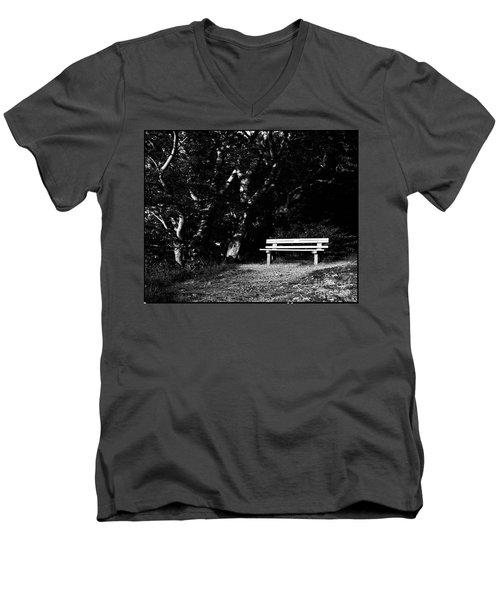 Wooden Bench In B/w Men's V-Neck T-Shirt