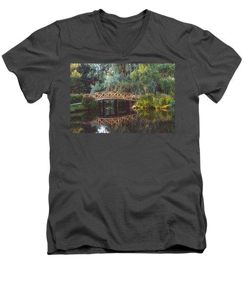 Men's V-Neck T-Shirt featuring the photograph Wooden Bridge by Ari Salmela