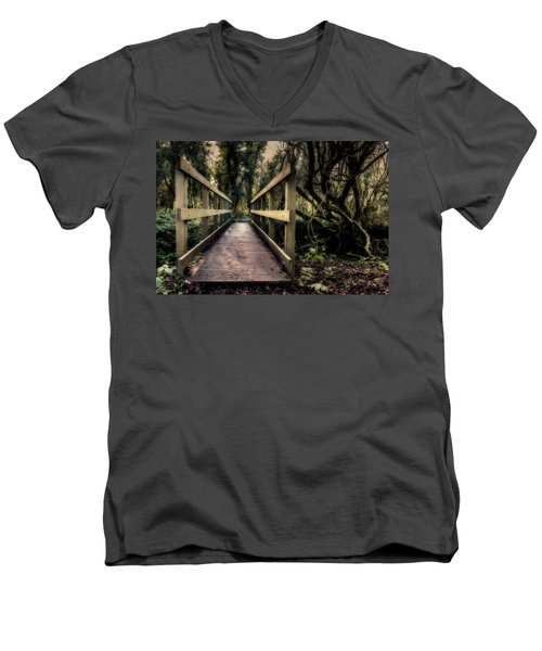 Men's V-Neck T-Shirt featuring the photograph Wooden Bridge by Nick Bywater