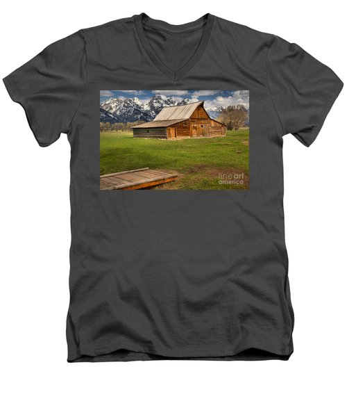 Wooden Bridge To The Wooden Barn Men's V-Neck T-Shirt by Adam Jewell