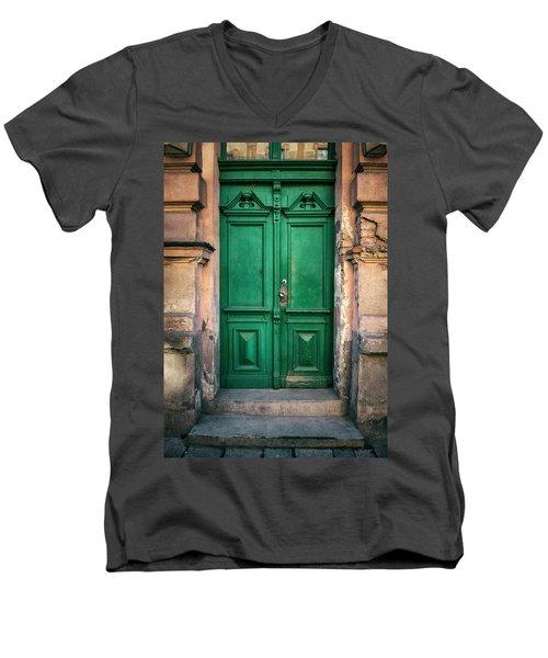 Wooden Ornamented Gate In Green Color Men's V-Neck T-Shirt by Jaroslaw Blaminsky