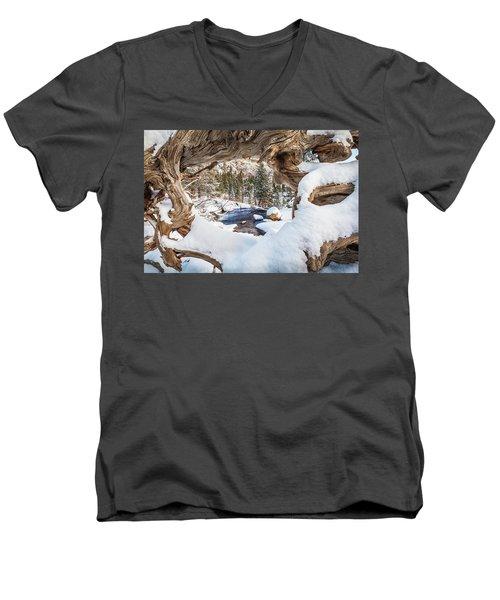 Wooden Window View  Men's V-Neck T-Shirt