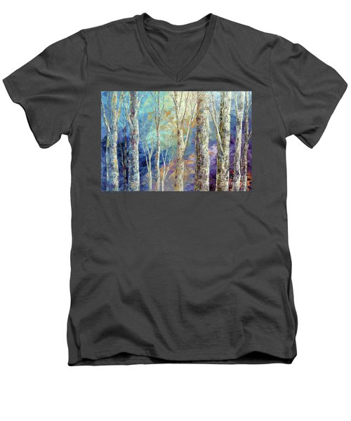 Men's V-Neck T-Shirt featuring the painting Woodland Breezes by Tatiana Iliina