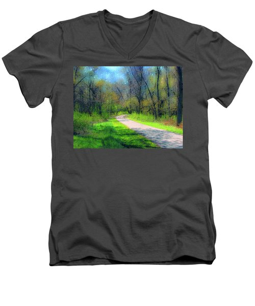 Woodland Trail Men's V-Neck T-Shirt by Cedric Hampton