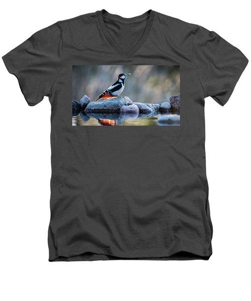 Woodpecker In Backlight Men's V-Neck T-Shirt by Torbjorn Swenelius