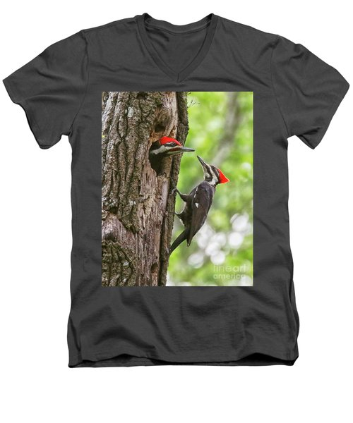 Woodpeckers Trading Places Men's V-Neck T-Shirt by Myrna Bradshaw