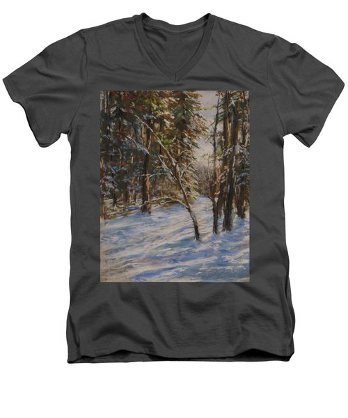 Woods And Snow At Two Below Men's V-Neck T-Shirt by Jack Skinner