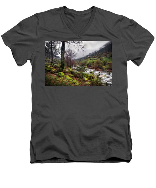 Woods Landscape Men's V-Neck T-Shirt by Carlos Caetano