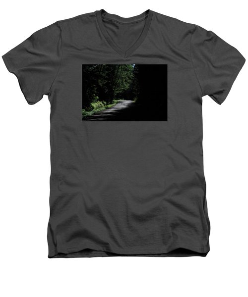 Woods, Road And The Darkness Men's V-Neck T-Shirt by John Rossman