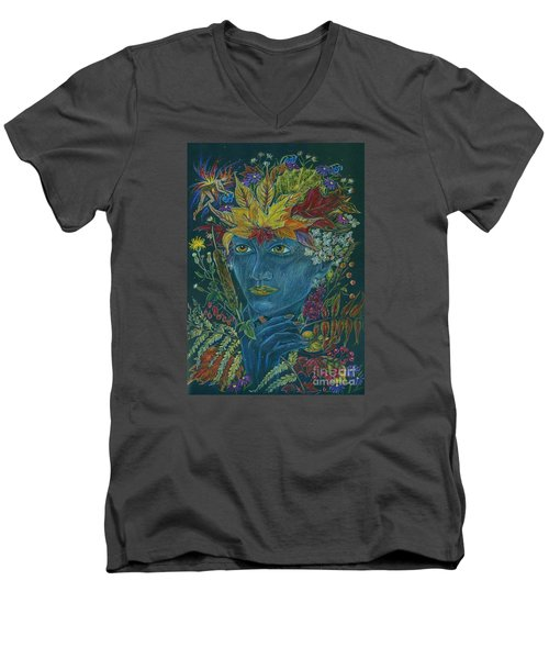 Men's V-Neck T-Shirt featuring the drawing Woolly Bear Caterpillar by Dawn Fairies
