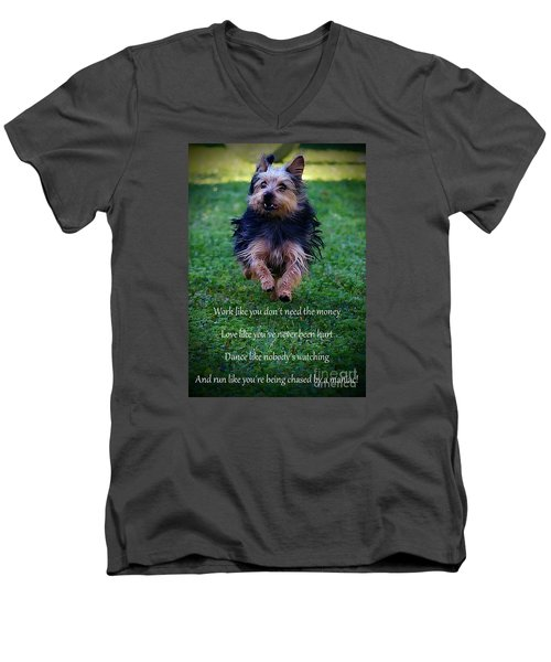 Words To Live By Men's V-Neck T-Shirt by Clare Bevan