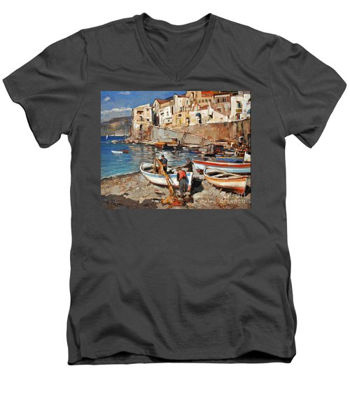 Men's V-Neck T-Shirt featuring the painting Work Never Ends For Amalfi Fishermen by Rosario Piazza