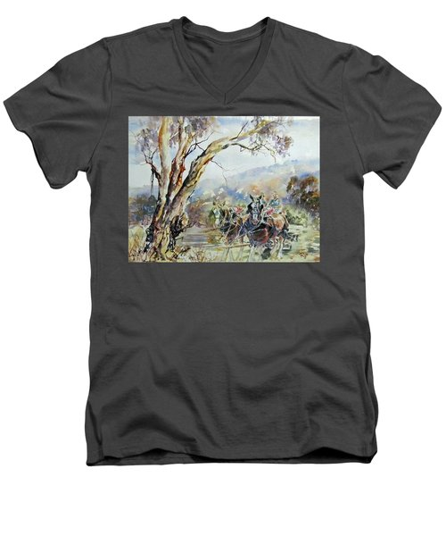 Men's V-Neck T-Shirt featuring the painting Working Clydesdale Pair, Australian Landscape. by Ryn Shell