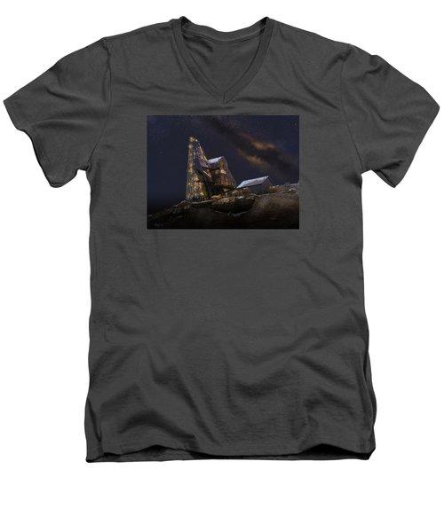 Working Through The Night Men's V-Neck T-Shirt