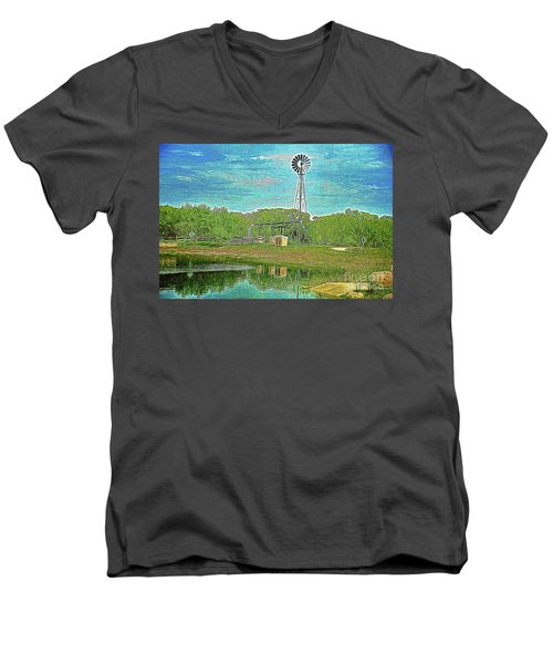 Men's V-Neck T-Shirt featuring the photograph Working Windmill  by Ray Shrewsberry
