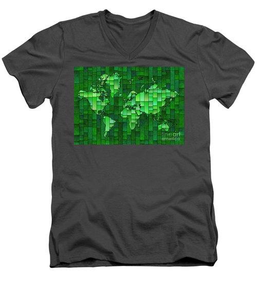 World Map Glasa Green Men's V-Neck T-Shirt