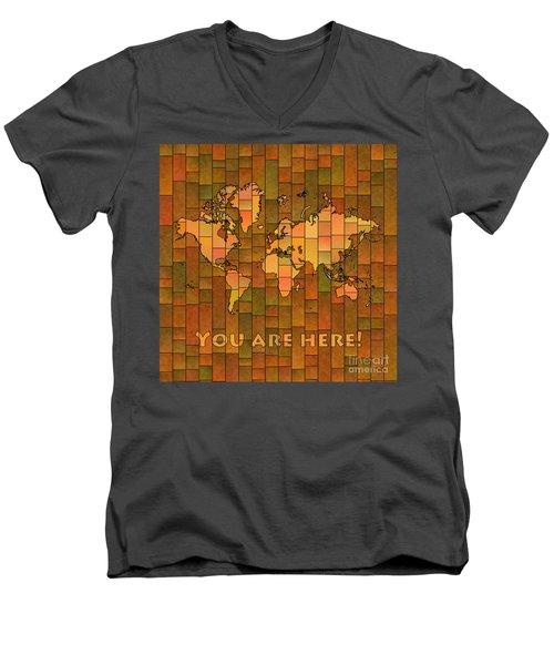 World Map Glasa You Are Here Brown Orange Green Men's V-Neck T-Shirt