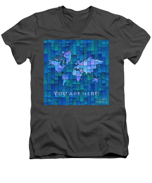 World Map Glasa You Are Here In Blue Men's V-Neck T-Shirt by Eleven Corners