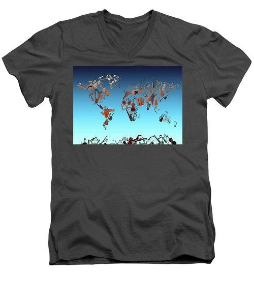 Men's V-Neck T-Shirt featuring the digital art World Map Music 6 by Bekim Art