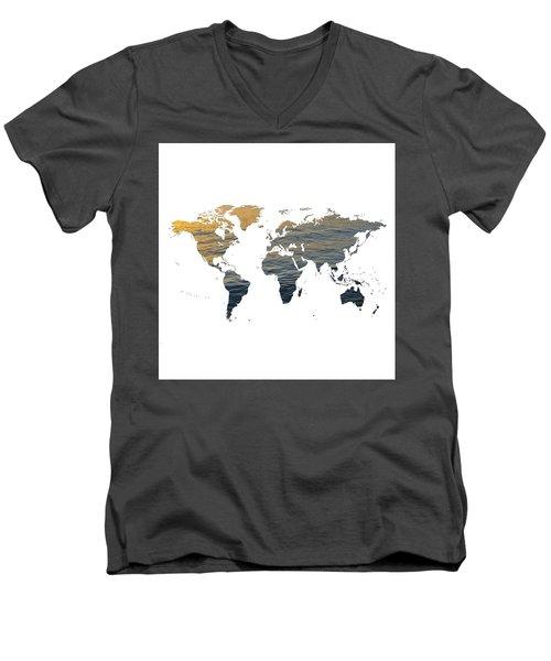 World Map - Ocean Texture Men's V-Neck T-Shirt
