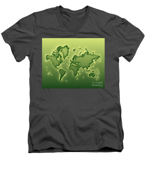 World Map Opala In Green And Yellow Men's V-Neck T-Shirt