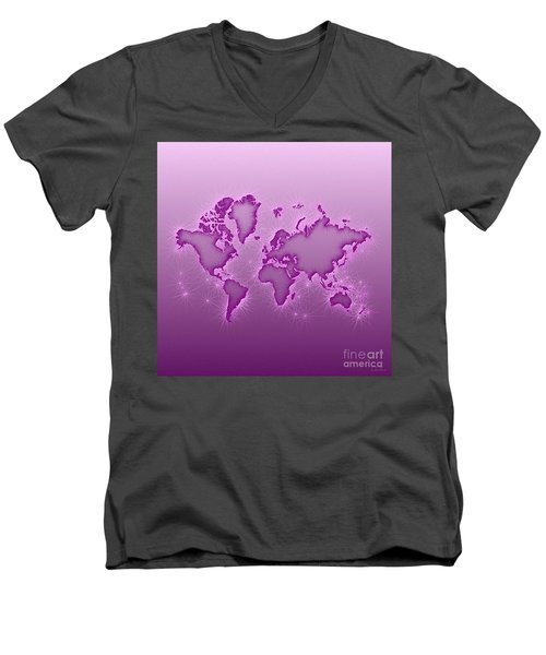 World Map Opala Square In Purple And Pink Men's V-Neck T-Shirt