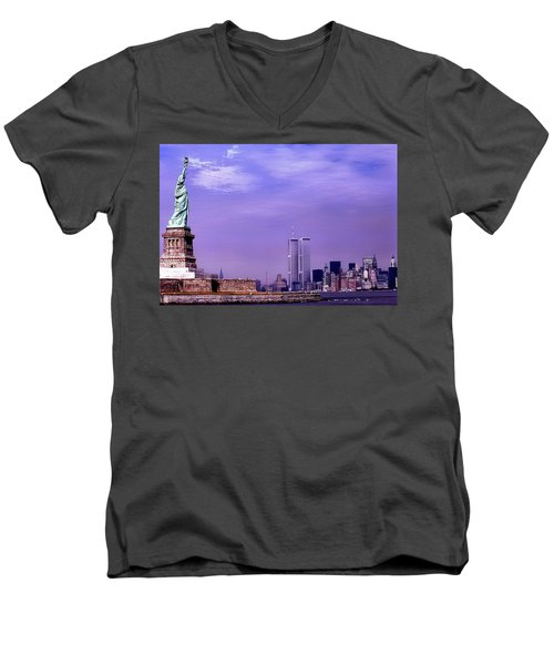 World Trade Center Twin Towers And The Statue Of Liberty  Men's V-Neck T-Shirt