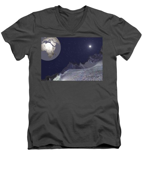 Men's V-Neck T-Shirt featuring the digital art 1657 - Worlds - 2017 by Irmgard Schoendorf Welch