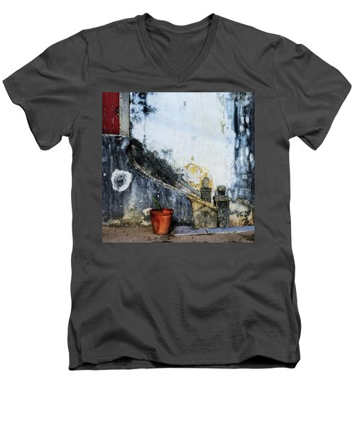 Worn Palace Stairs Men's V-Neck T-Shirt by Marion McCristall