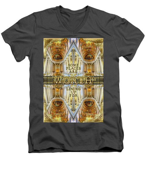 Worth Lining Up For Versailles Palace Chapel Paris Men's V-Neck T-Shirt