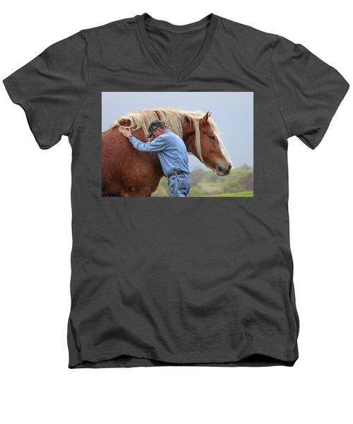 Wrangler Jeans And Belgian Horse Men's V-Neck T-Shirt