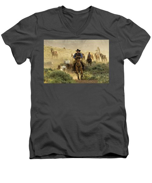 Wrangling The Horses At Sunrise  Men's V-Neck T-Shirt