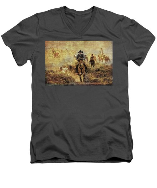 A Dusty Wyoming Wrangle Men's V-Neck T-Shirt