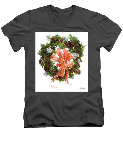 Wreath With Bow Men's V-Neck T-Shirt by Lise Winne