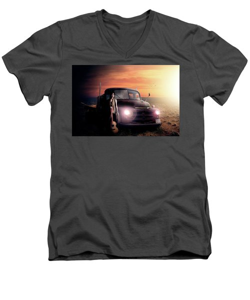 Men's V-Neck T-Shirt featuring the digital art Wrecked  by Nathan Wright