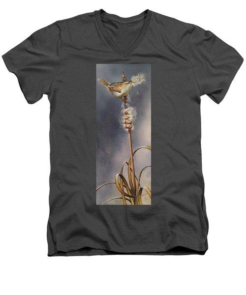 Wren And Cattails Men's V-Neck T-Shirt