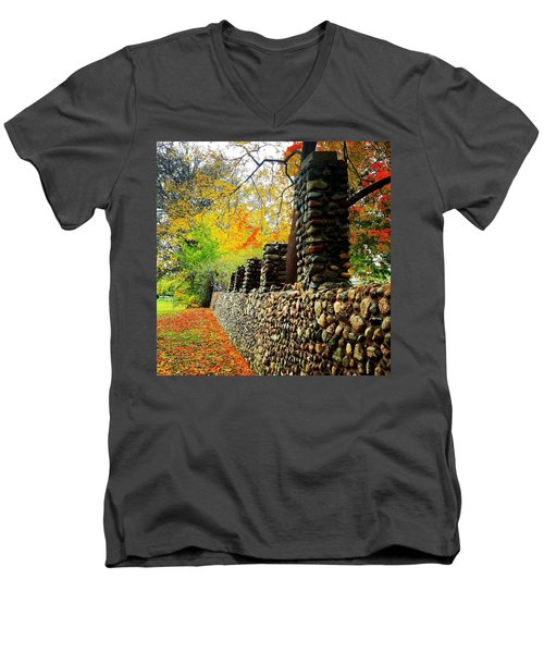 Wright Park Stone Wall In Fall Men's V-Neck T-Shirt