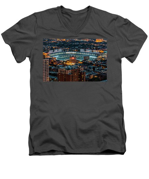 Wrigley Field From Park Place Towers Dsc4678 Men's V-Neck T-Shirt by Raymond Kunst