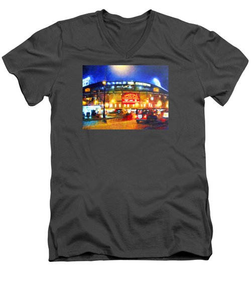 Wrigley Field Home Of Chicago Cubs Men's V-Neck T-Shirt