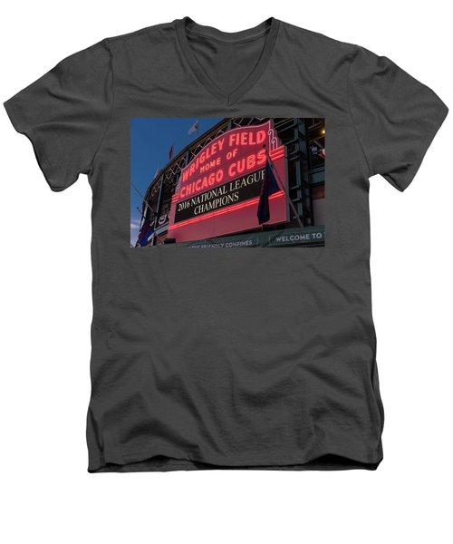 Wrigley Field Marquee Cubs National League Champs 2016 Men's V-Neck T-Shirt by Steve Gadomski