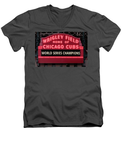 Wrigley Field Marquee Cubs World Series Champs 2016 Front Men's V-Neck T-Shirt by Steve Gadomski