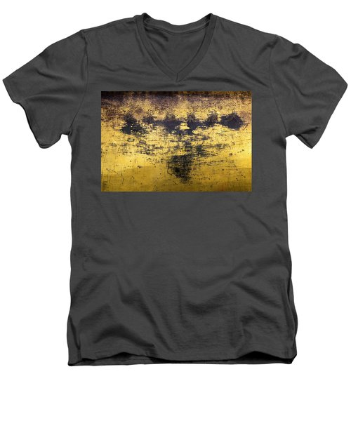 Men's V-Neck T-Shirt featuring the photograph Writing On Metal, Beijing, 2016 by Hitendra SINKAR