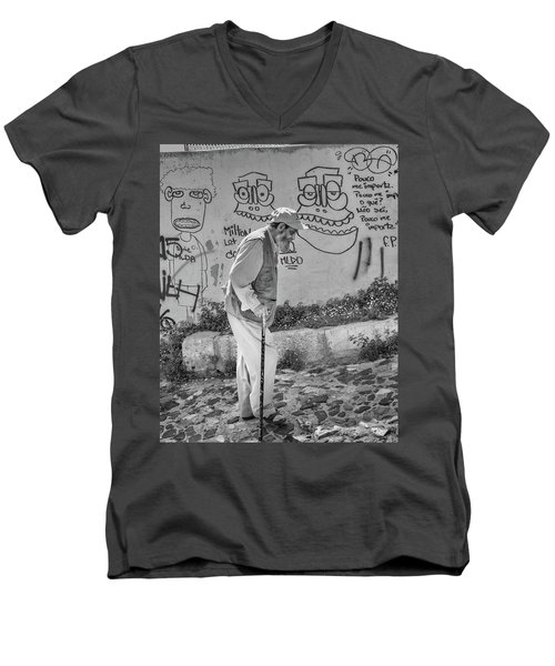 Men's V-Neck T-Shirt featuring the photograph Writing On The Wall by Patricia Schaefer