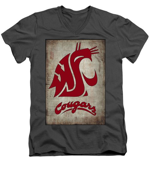 W S U Cougars Men's V-Neck T-Shirt by Daniel Hagerman