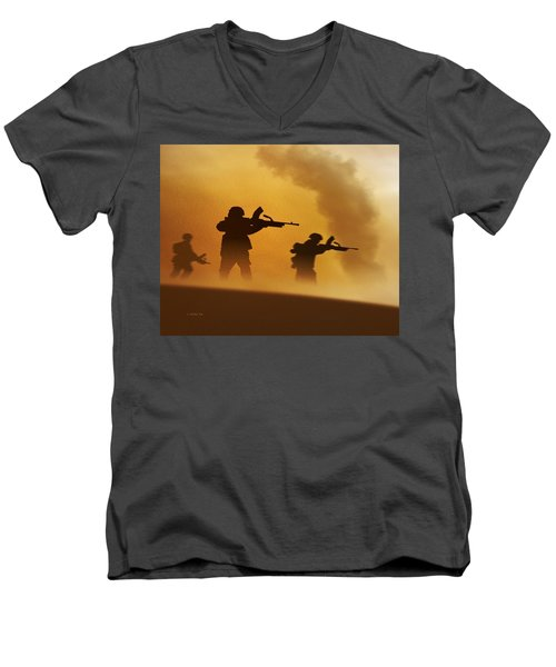 Ww2 British Soldiers On The Attack Men's V-Neck T-Shirt by John Wills