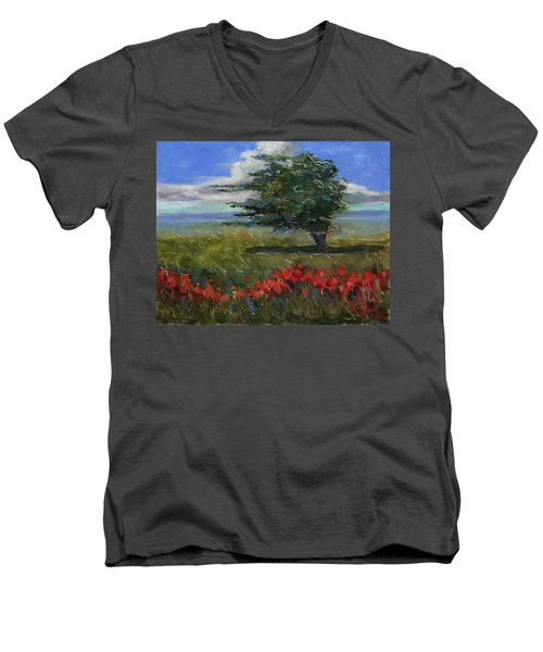 Men's V-Neck T-Shirt featuring the painting Wyoming Gentle Breeze by Billie Colson